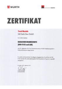 Muzlah-Brandschutzzertifikat