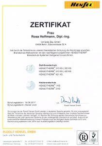 Brandschutzzertifikat der Firma Hensel